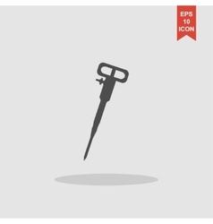 Pneumatic hammer drill line icon for web mobile vector