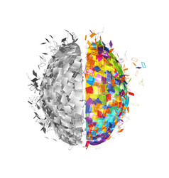Abstract human brain with colorful right part and vector