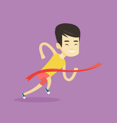 athlete crossing finish line vector image