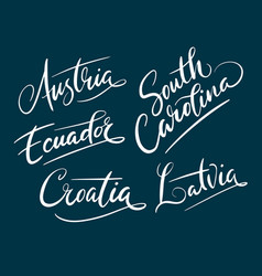 Austria and south carolina hand written typography vector