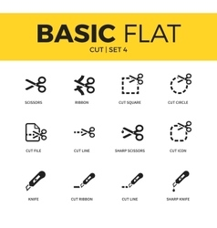 Basic set of cut icons vector image