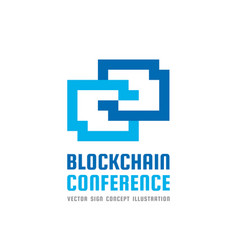 blockchain technology conference - logo vector image vector image