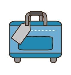 Blue bag packback traveler vector