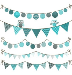 Bunting owl banner vector