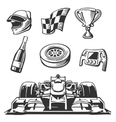 Car race icons set Helmet wheel tire vector image vector image