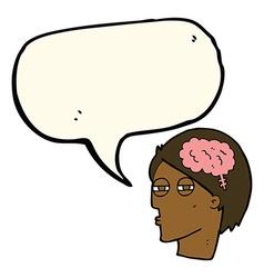 Cartoon man thinking carefully with speech bubble vector