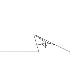 Continuous line drawing of paper airplane vector
