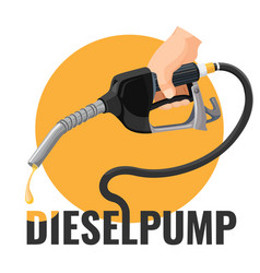diesel pump promotional logotype with fuel nozzle vector image