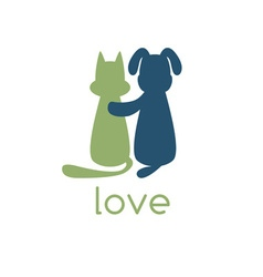 Dog hugging cat with love vector