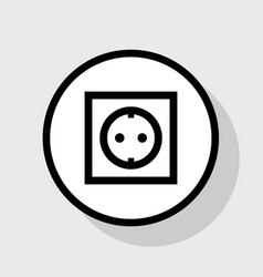 Electrical socket sign flat black icon in vector