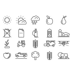 Farm line icons set for your design vector