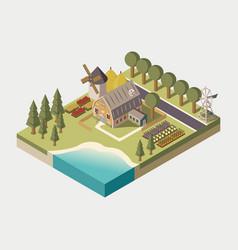 farmhouse isometric vector image vector image