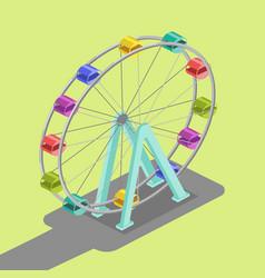 ferris wheel isometric vector image vector image