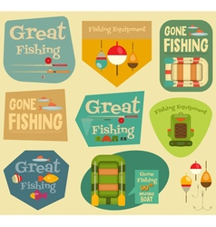 Fishing stickers vector