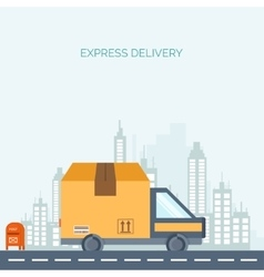 Flat background delivery packaging shipping vector
