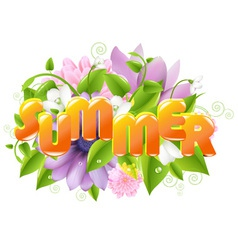 Floral Summer sign vector image vector image