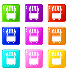 Food trolley with awning icons 9 set vector