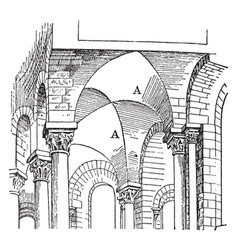 Groin vault early 12th century vaulting vintage vector