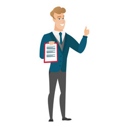 Groom with clipboard giving thumb up vector