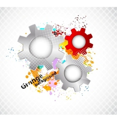 Grunge background with gears vector image vector image
