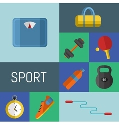 Gym sports equipment icons set vector image vector image