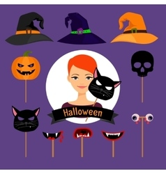 Halloween party fashion girl items vector image vector image