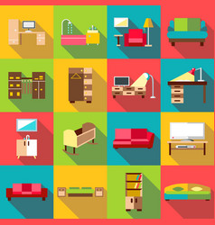 Home interior icons set flat style vector