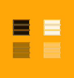 horizontal stack of books set icon vector image vector image