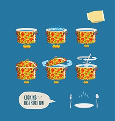 Instruction cooking set pots infographics home vector