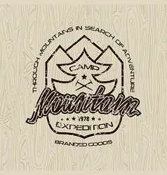 Mountain camp emblem for t shirt vector