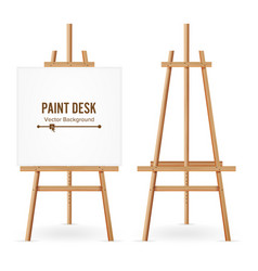 Paint desk wooden easel template with vector