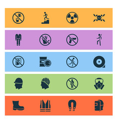 Sign icons set with caution drinkable mask and vector