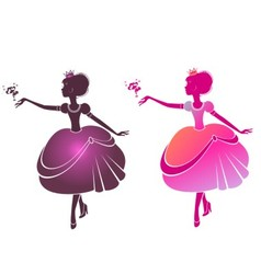 Silhouette of a beautiful princesses vector image vector image