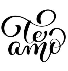 te amo love you spanish text calligraphy vector image