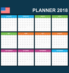 Usa planner blank for 2018 scheduler agenda or vector