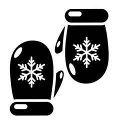 Winter gloves icon simple black style vector