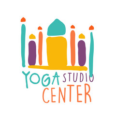 Yoga studio center logo colorful hand drawn vector