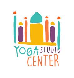 yoga studio center logo colorful hand drawn vector image