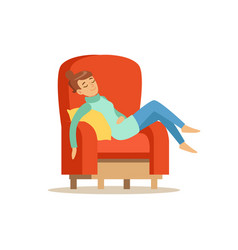 young woman sleeping on red armchair relaxing vector image