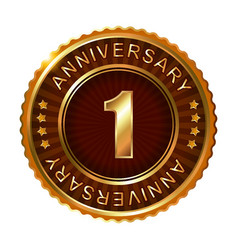 1 years anniversary golden brown label vector image vector image