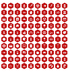 100 summer holidays icons hexagon red vector