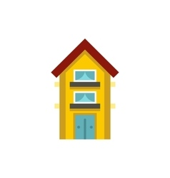 Small yellow two storey house icon vector