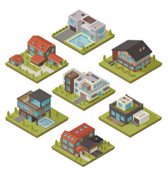 Isometric house icon set vector