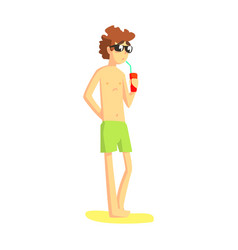 Guy in green shorts and shades drinking soda from vector