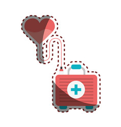 Heart transfusing blood in the first aid kit vector