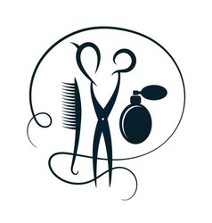 Scissors and hairbrush for hairdressers silhouette vector
