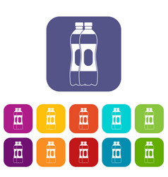 Two plastic bottles icons set vector