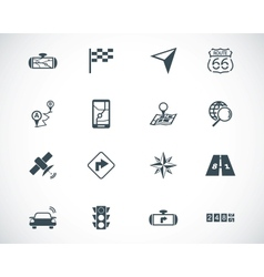 Black navigation icons set vector