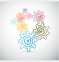 Hand drawn abstract cogs - gears vector
