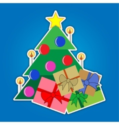 Christmas tree with star and colored gifts vector